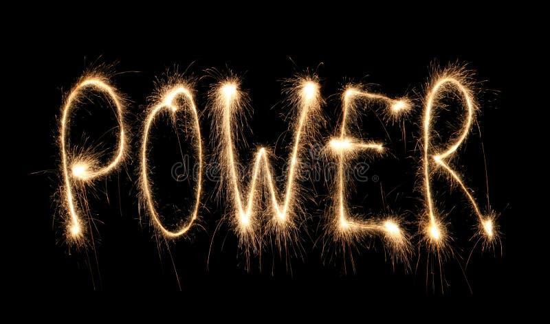 Word power written sparkler stock images