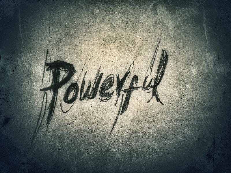 the word powerful written in very rough style by pencil on the dark paper royalty free stock images
