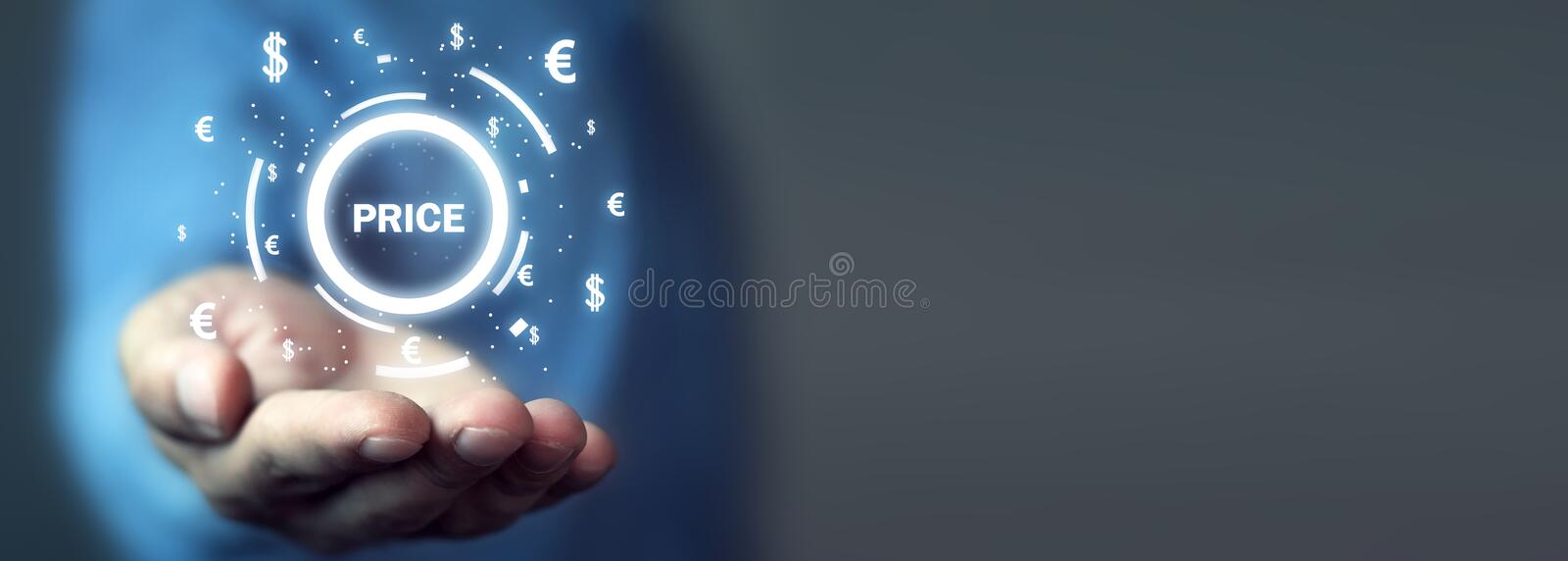Word Price with currency symbols. Business concept royalty free stock photo