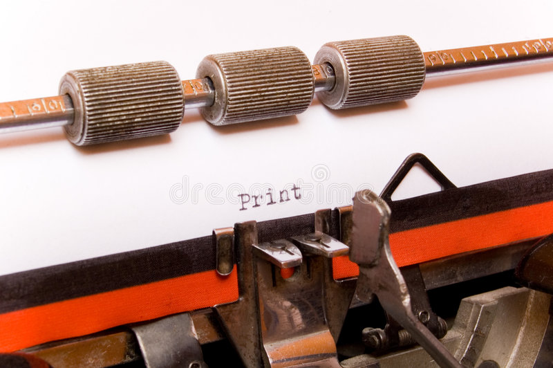 Download Word Print On Typewriter Paper Stock Image - Image: 2298249