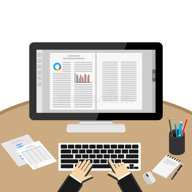 Word processor application. Working on desktop. Businessman Using Computer At Desk. Word processor application stock illustration