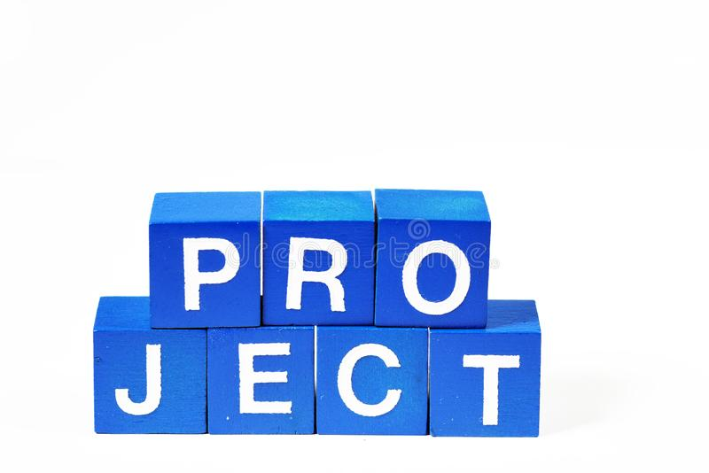 The word `Project` spelled out in clear capitals royalty free stock photo