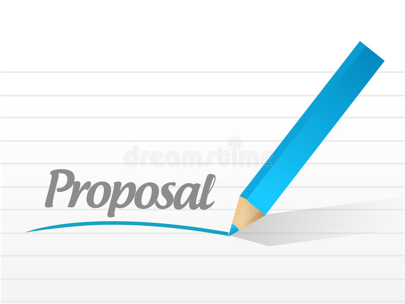 word proposal written on a white piece of paper stock illustration
