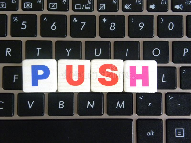 Word Push on keyboard background.  royalty free stock images