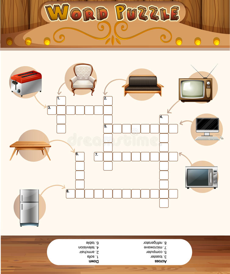 Word puzzle game with objects in the house royalty free illustration