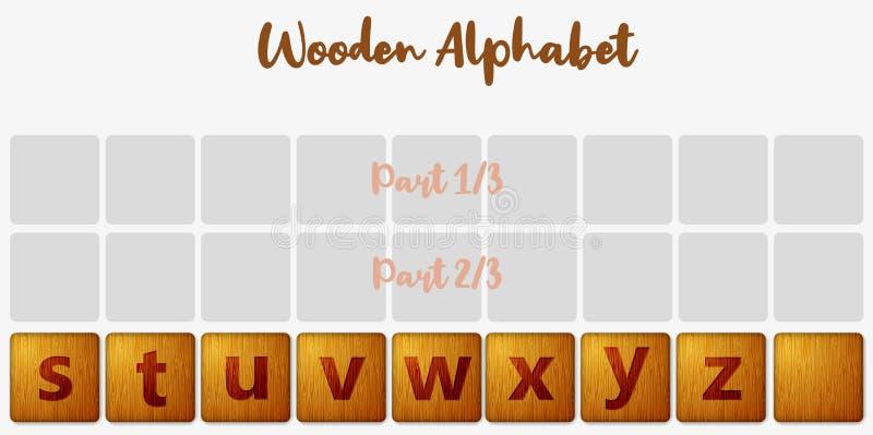 Word puzzling board game design elements set 3/3. Wooden tiles alphabet 3d realistic letters. Vector illustration vector illustration