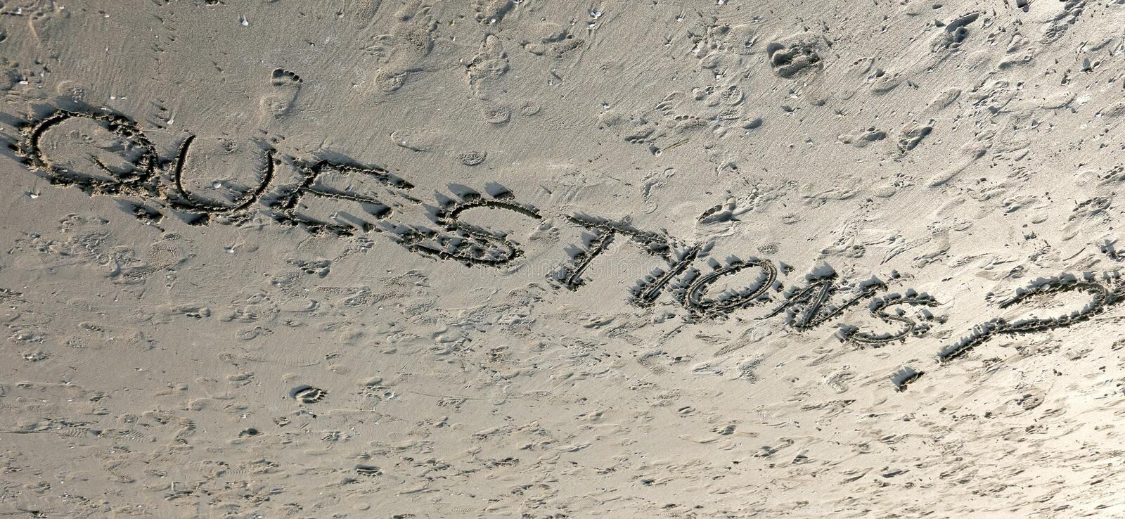 Download Word QUESTIONS With Question Mark Written On The Sand Can Be Use Stock Image - Image of foreshore, writing: 101808091