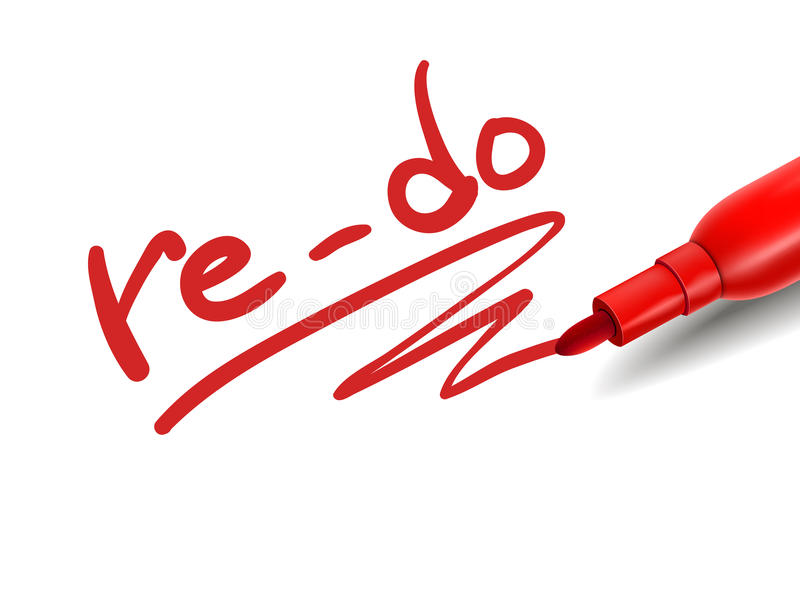 The word re-do with a red marker royalty free illustration