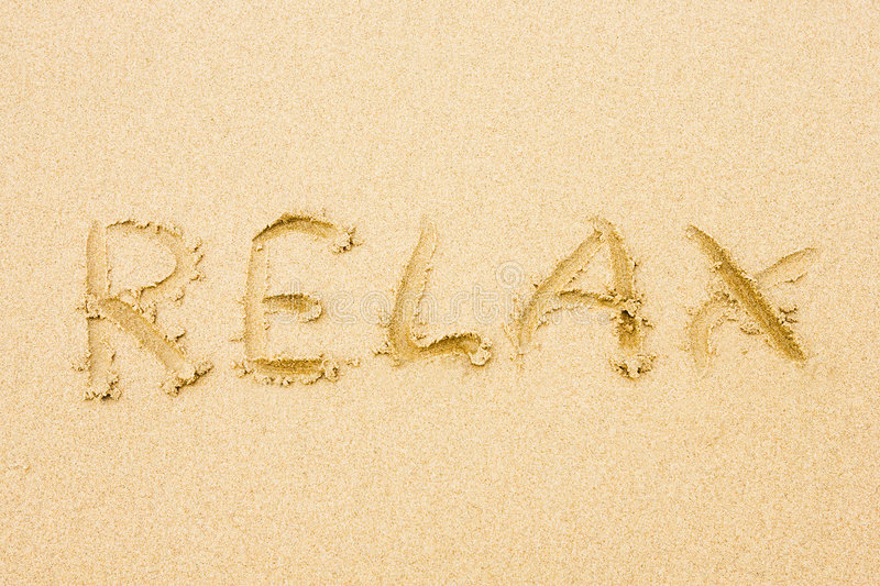 Download Word Relax written on sand stock image. Image of relaxing - 4897445