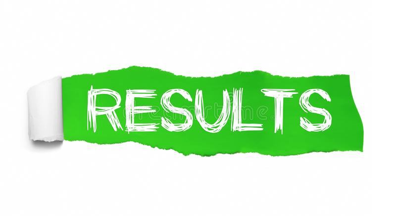 The word Results appearing behind torn green paper royalty free illustration