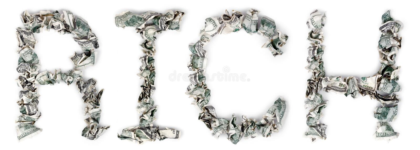 Download Rich - Crimped 100$ Bills stock image. Image of large - 29770825