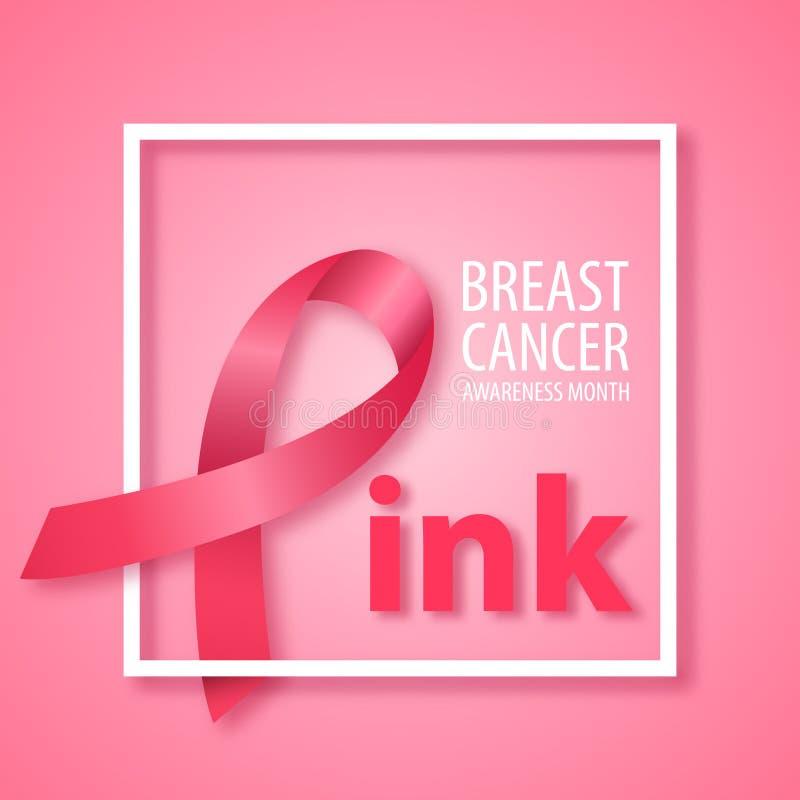 Word Roze met roze lint in plaats daarvan brief P Symbool van de voorlichtingsmaand van Borstkanker vector illustratie
