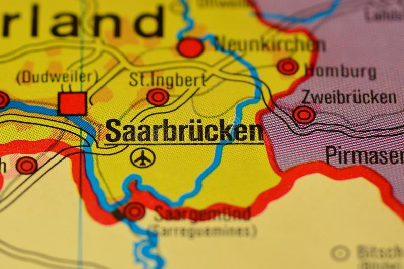 The Word SAARBRCKEN On The Map Stock Image Image of town stock
