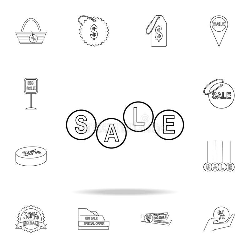 The word sale in circles icon. Detailed set of clearance sale icons. Premium graphic design. One of the collection icons for. Websites, web design, mobile app stock illustration