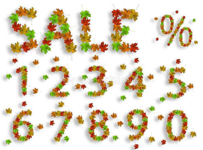 Word Sale with digits from 0 to 9 and percentage sign made of bright maple leaves on white background for signboard or. Advertisement, autumn, leaf, red, nature stock illustration