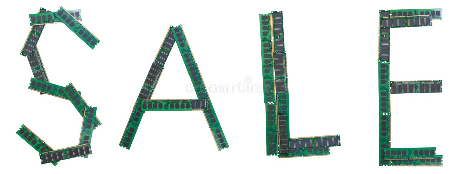 Word SALE typed from old RAM memory modules of personal computers. stock photography