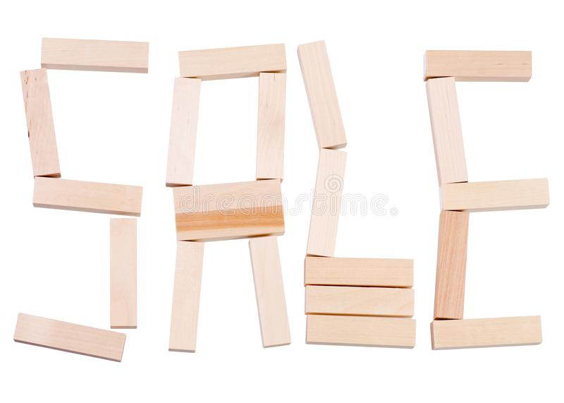 Word sale wooden. On white background isolation stock photo