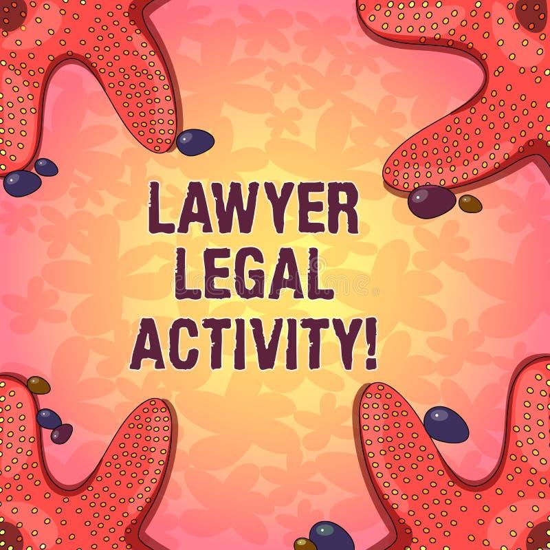 Word schrijvende tekstadvocaat Legal Activity Het bedrijfsconcept voor bereidt gevallen voor en geeft advies op wettelijke onderw stock illustratie