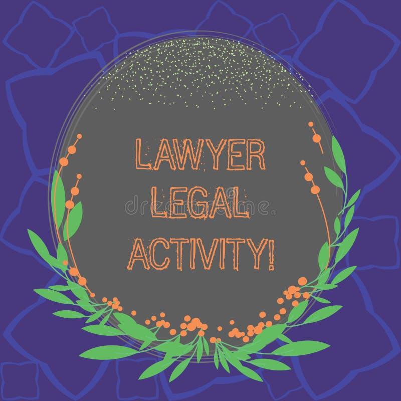 Word schrijvende tekstadvocaat Legal Activity Het bedrijfsconcept voor bereidt gevallen voor en geeft advies op wettelijke onderw royalty-vrije illustratie