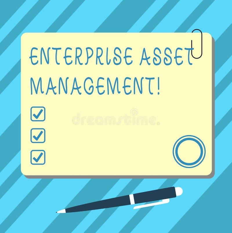 Word schrijvende tekstonderneming Asset Management Bedrijfsconcept voor het analysisaging van de levenscyclus van fysieke activa  stock foto