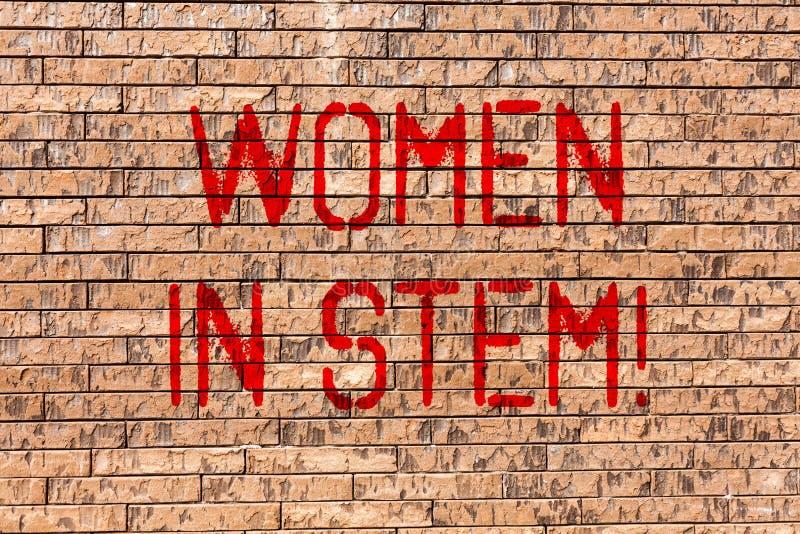 Word schrijvende tekstvrouwen in Stam Bedrijfsconcept voor van de de Techniekwiskunde van de Wetenschapstechnologie de Wetenschap royalty-vrije illustratie