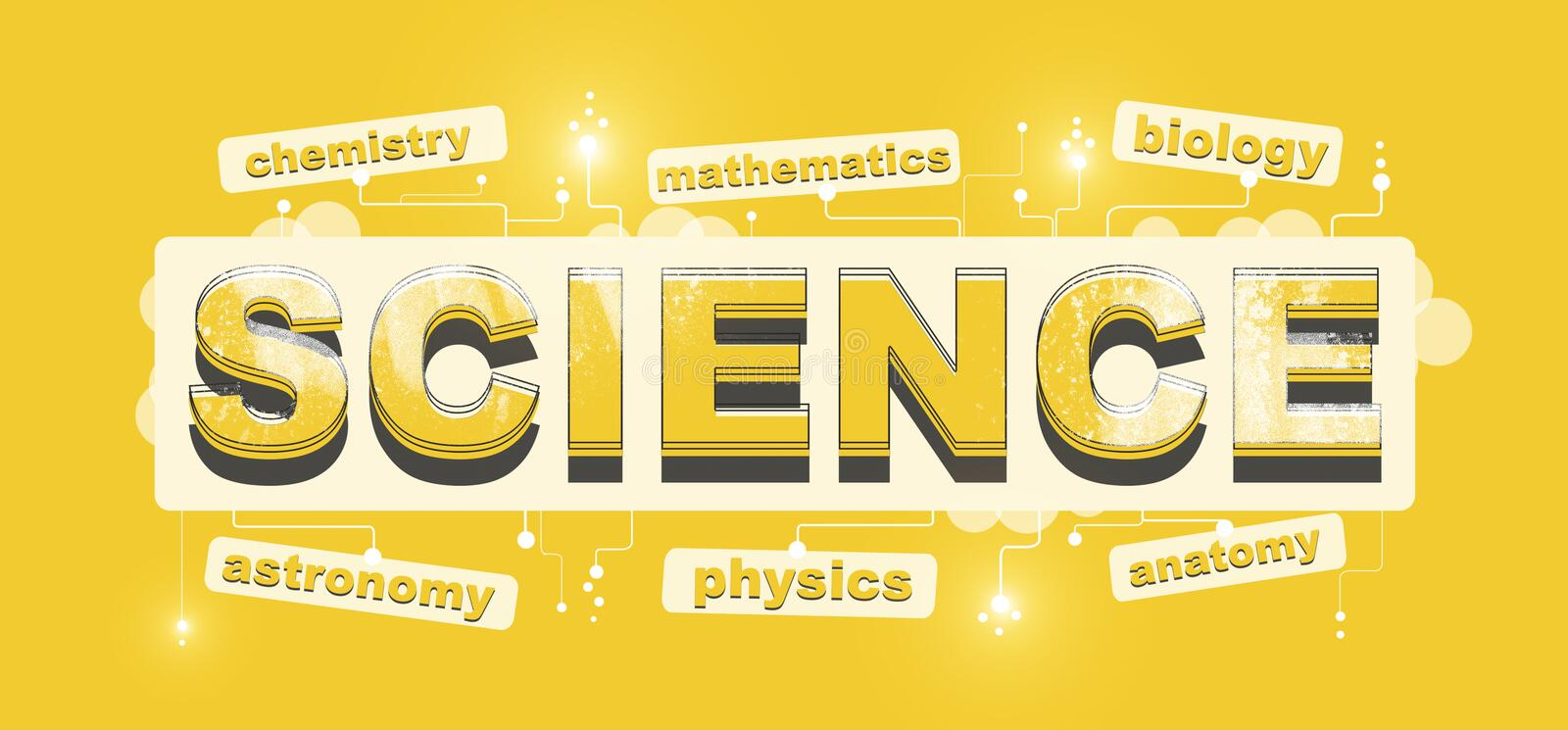 Word Science with components on bright yellow background stock illustration