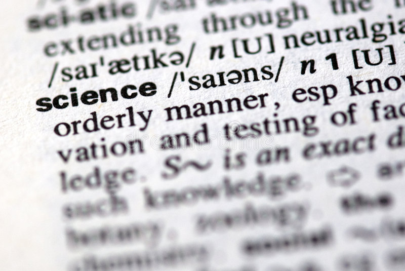 The word science in a dictionary. Close-up of the word science in a dictionary royalty free stock photo