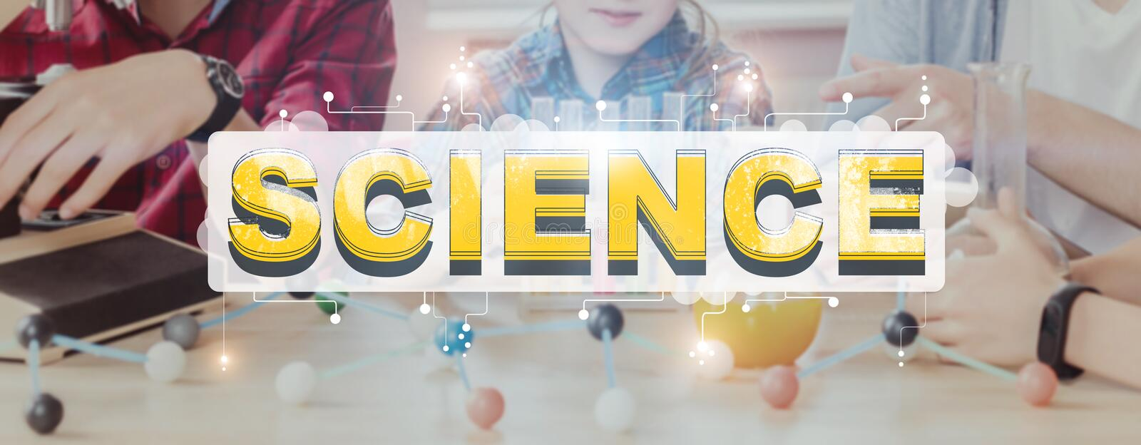 Word Science and kids studying with chemical elements royalty free stock photography