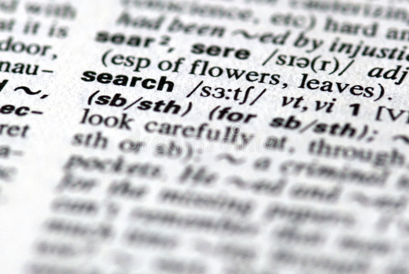 The word search. Close-up of the word search in a dictionary royalty free stock photo
