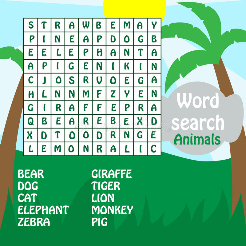 Word search game. animals stock illustration