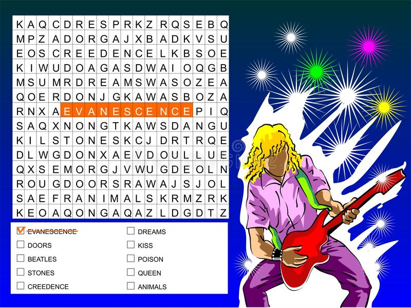 Download Word Search Game - Find The Nine Rock Bands Stock Image - Image: 29263889