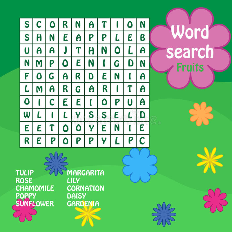 Word search game. flowers royalty free illustration