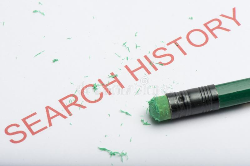 Word `Search History` with Worn Pencil Eraser and Shavings stock photo