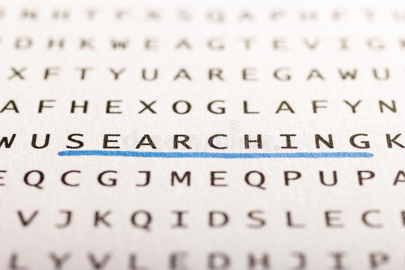 Word search, puzzle. Concept about finding, searching, looking f. Word search, puzzle. Close up of letters on canvas. Concept about finding, searching, looking royalty free stock photography