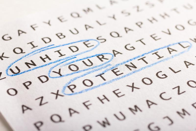 Word search, puzzle. Concept about finding, unhide your potenti royalty free stock photos