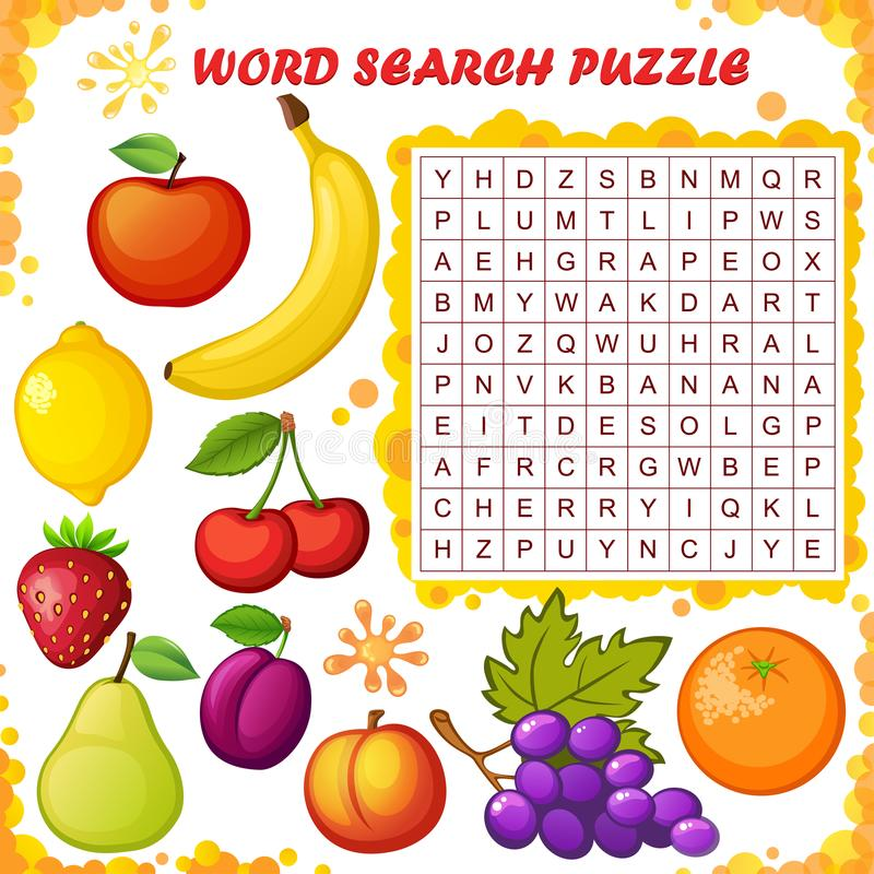 Word search puzzle. Vector education game for children. Fruits stock illustration