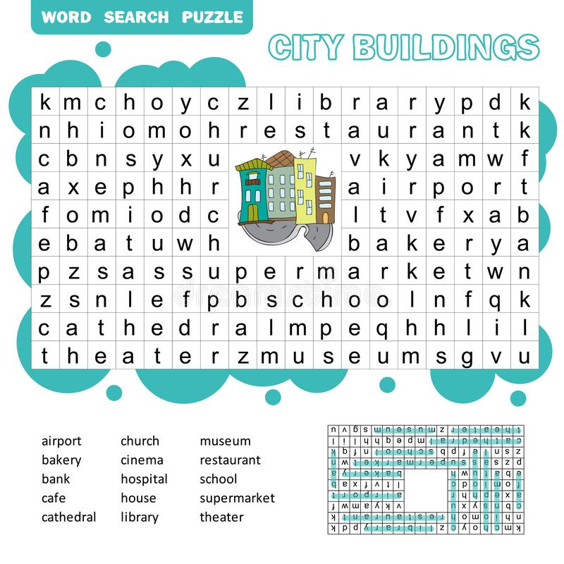 Word search puzzle. Vector game about city buildings. Worksheet for children. stock illustration