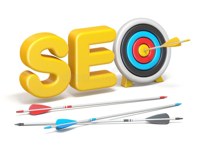 Word SEO met 3D doel en pijlen royalty-vrije illustratie