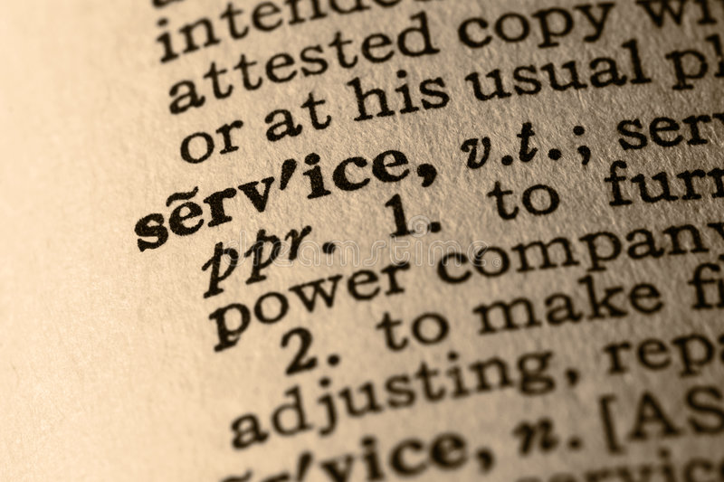 The word service. Close-up of the word service in a dictionary stock photography