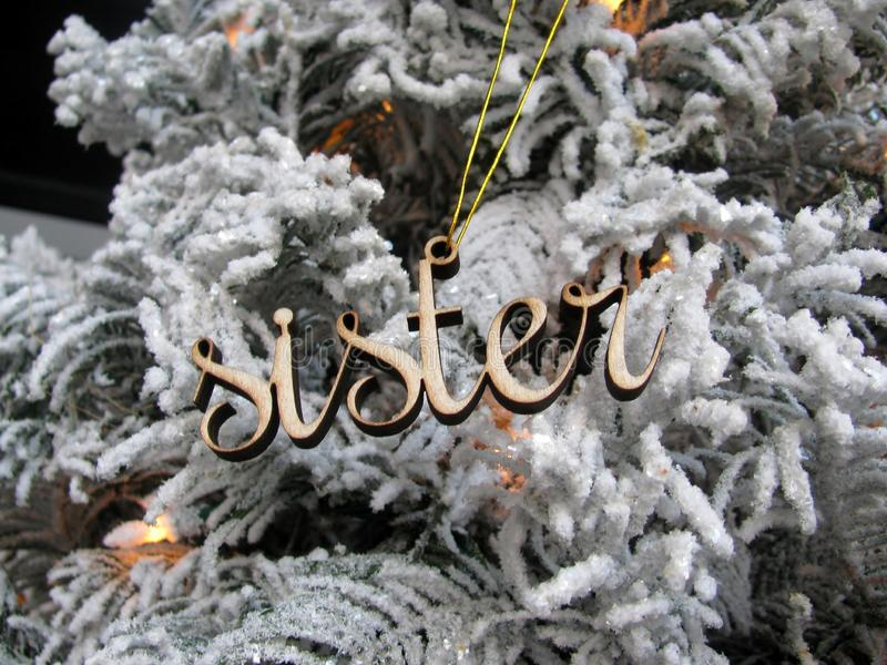 Word Sister wooden cutout decoration royalty free stock images