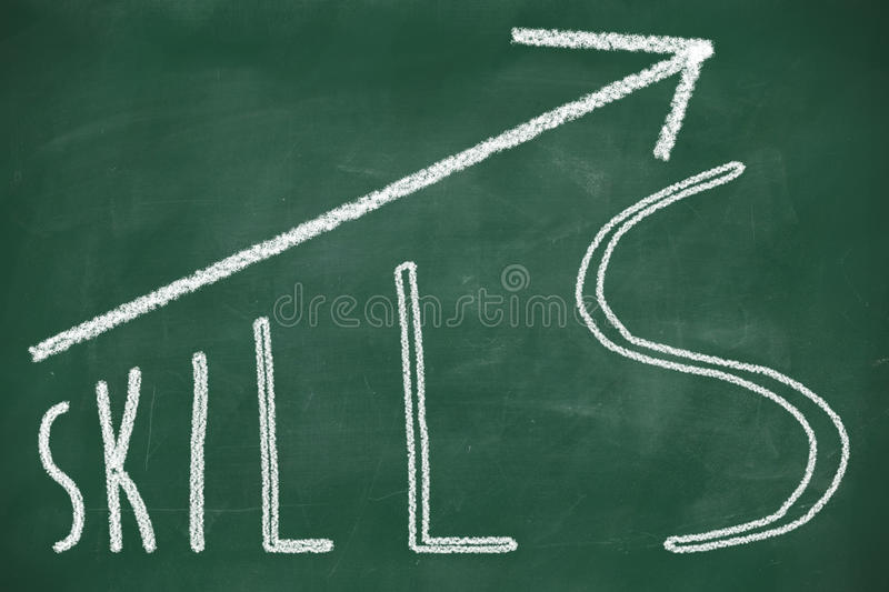 Word Skills hand written. On the chalkboard with rising arrow graph vector illustration