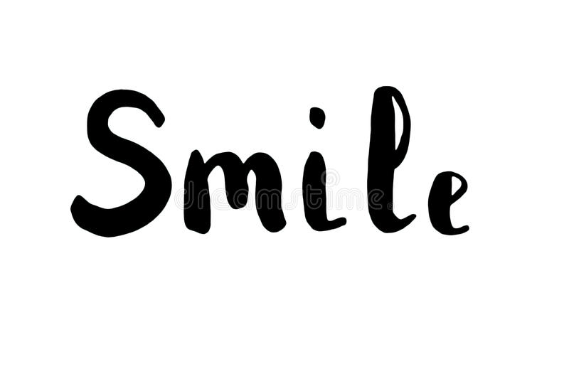 The word smile. Lettering. stock illustration