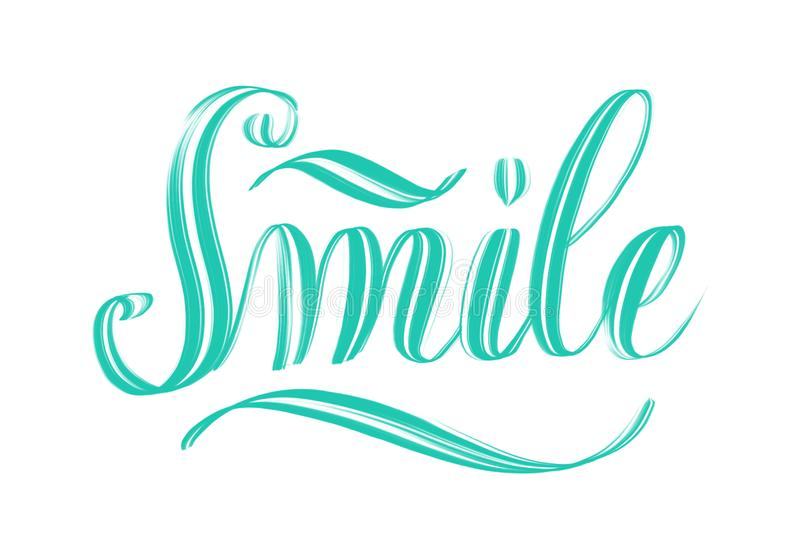 The word Smile written in script hand lettering. The word Smile written in script hand lettering on white background stock illustration