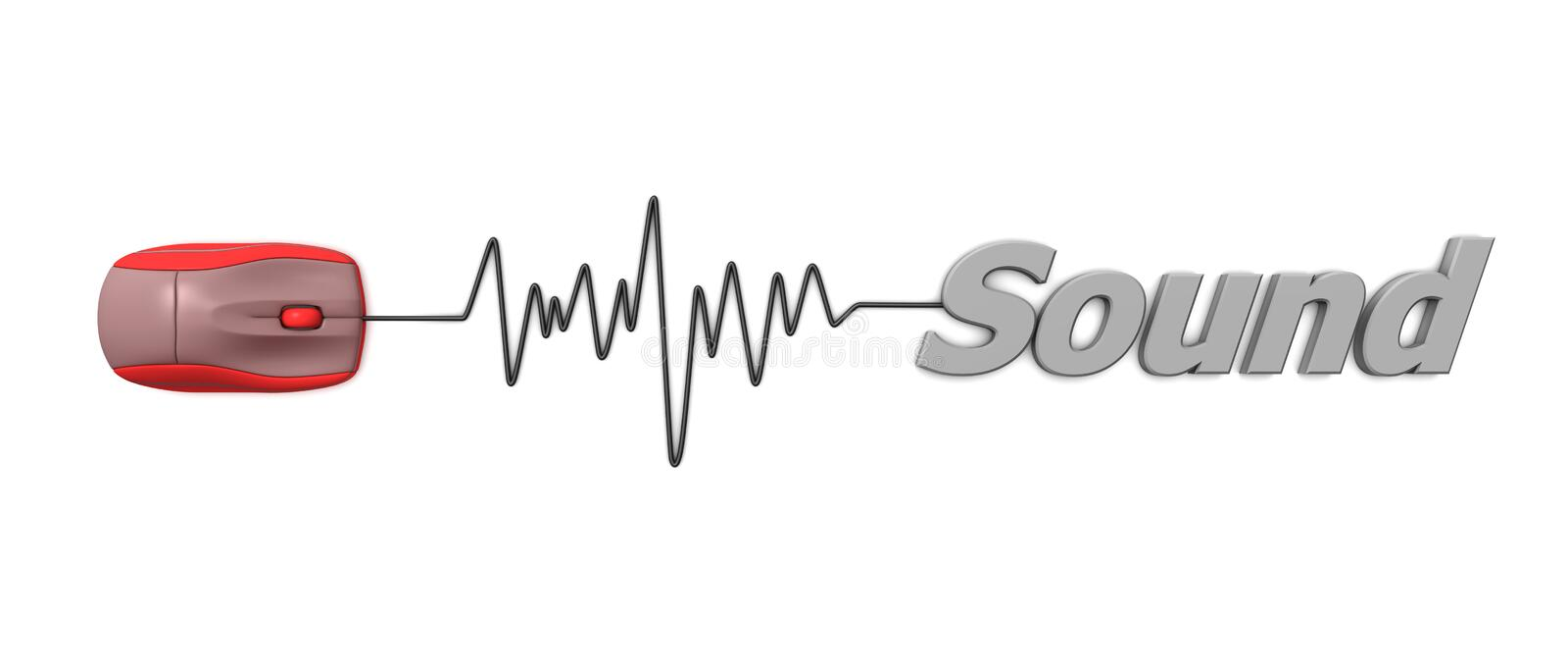 Word Sound with Red Mouse. Red computer mouse connected to the grey word Sound via sine waveform cable royalty free illustration