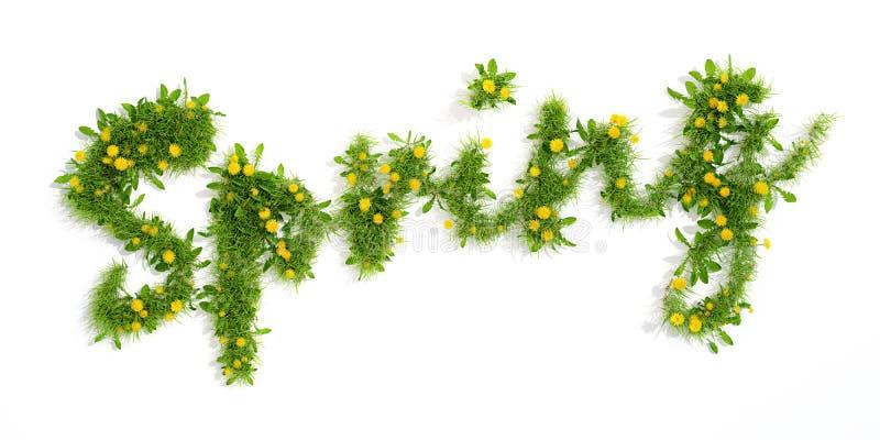 Word spring made od grass and flowers, 3D render. Word spring made od grass and yellow dandelion flowers, 3D render vector illustration