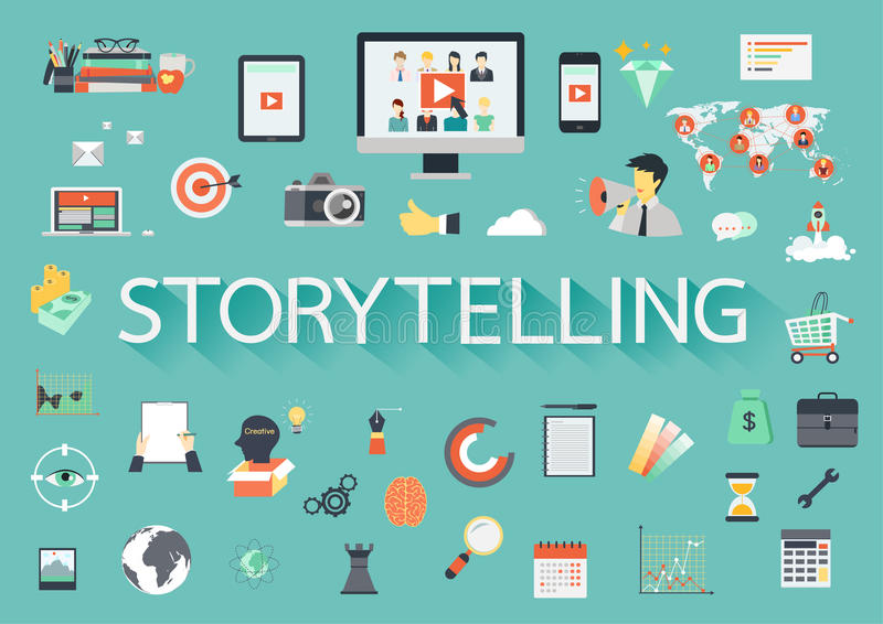 The word STORYTELLING with ling shadow surrounded by concerning flat icons. Vector illustration stock illustration
