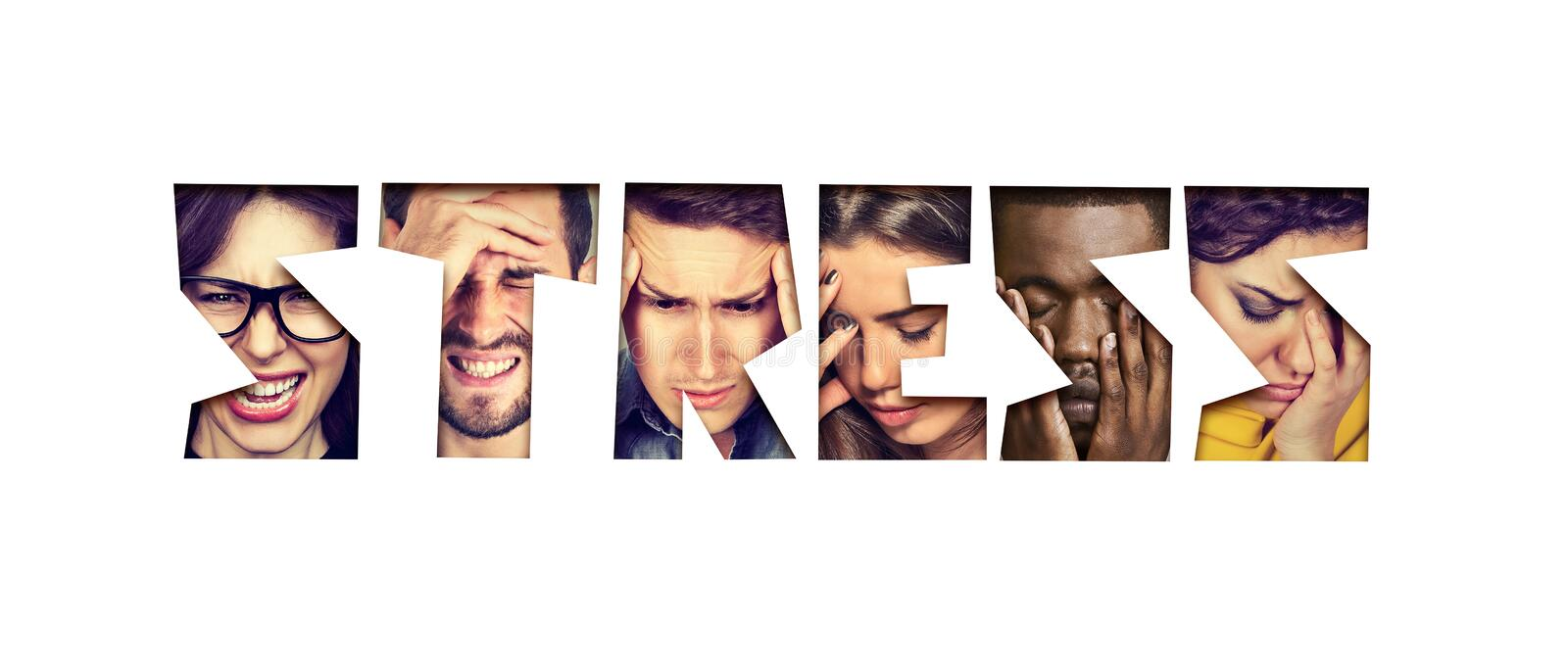 Word stress made of desperate unhappy group of people royalty free stock photos