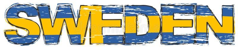 Word SUÈDE avec le drapeau national suédois sous lui, regard grunge affligé illustration de vecteur