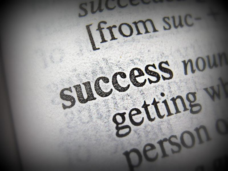 The Word `Success` in Black and White stock photography