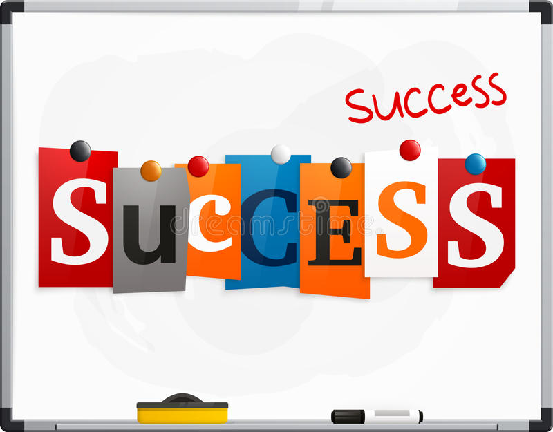 The word Success made from newspaper letters attached to a whiteboard or noticeboard with magnets. Marker pen. Vector. The word Success made from newspaper vector illustration